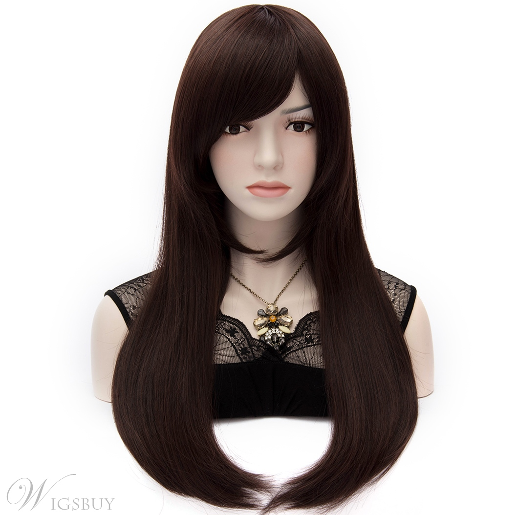 Kaye Mid-Length Straight Dark Brown Wig with Side Swept Bangs 24 Inches