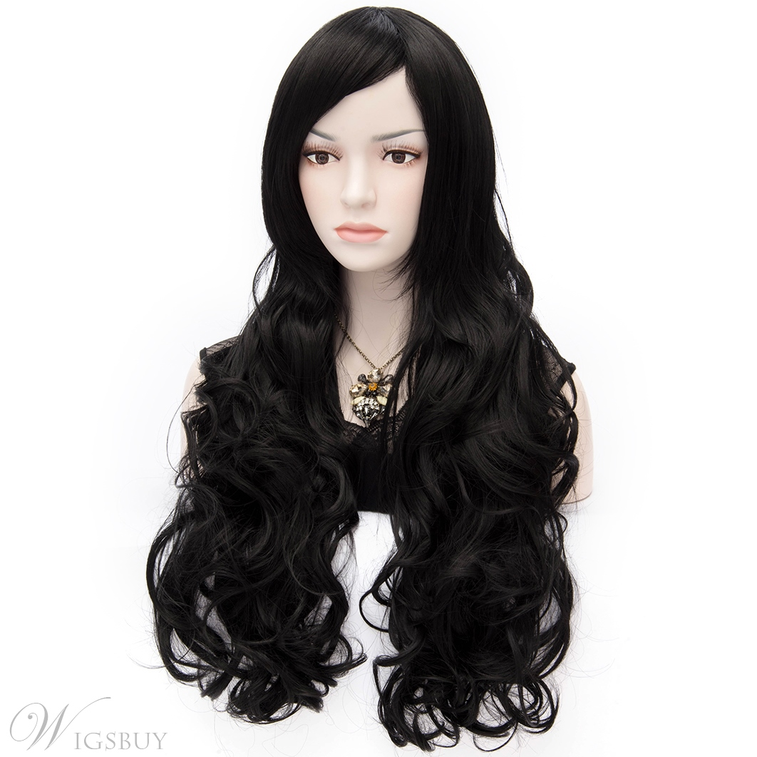 Sexy Anastasia Fashion Super Long Wavy Black Hair Wig 32 Inches