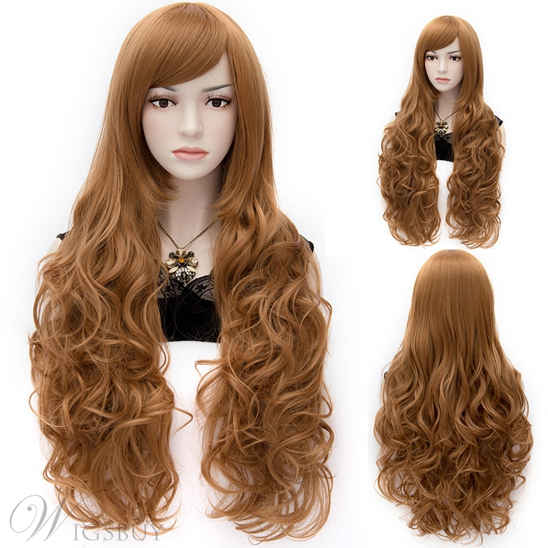 APH Elizabeth Glamorous Long Curly Brown Cosplay Wig 28 Inches