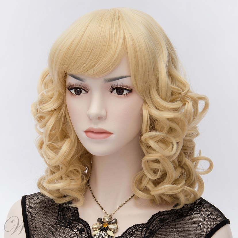 Kate Winslet Medium Long Curly Blonde Cosplay Party Wig 14 Inches