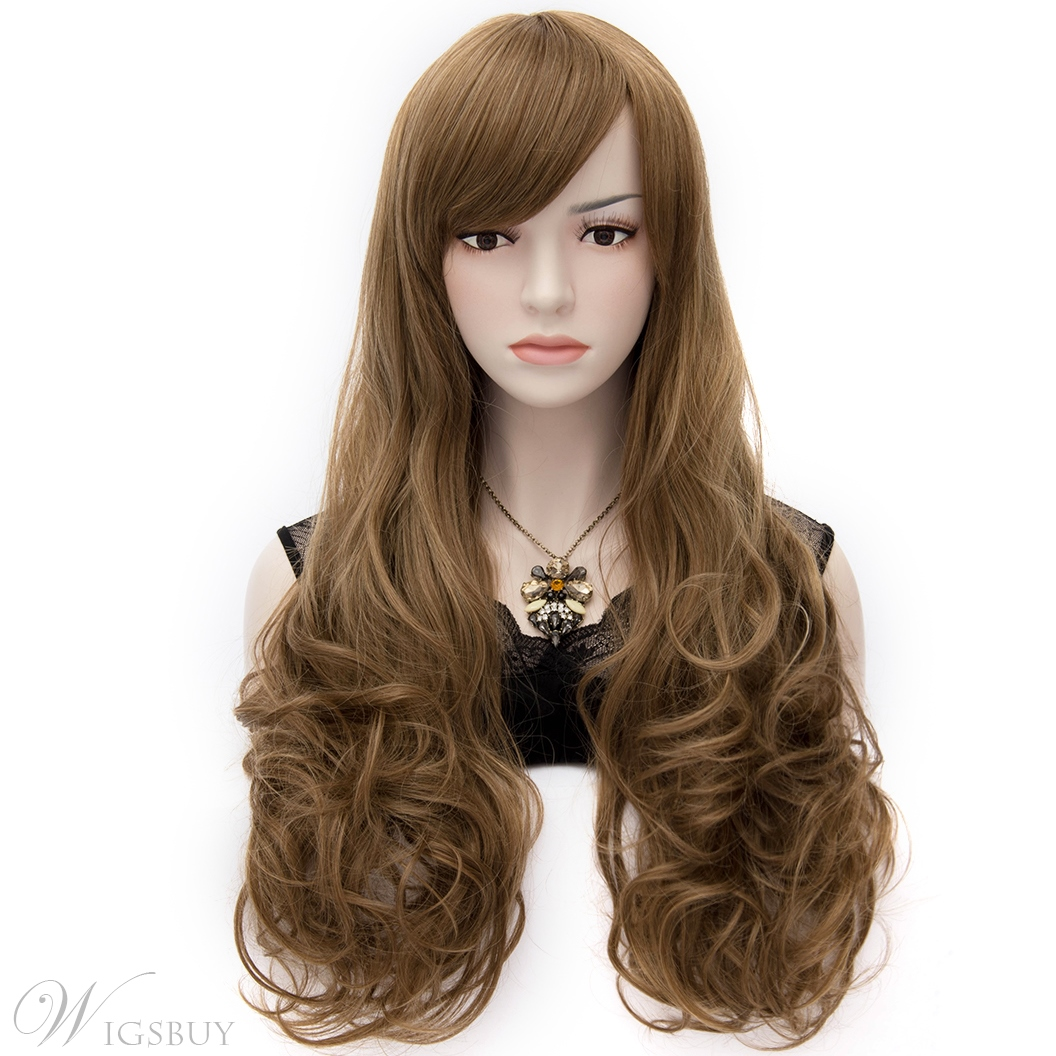 Fashionable Natural Long Curly Brown Hair Cosplay Wig 28 ...