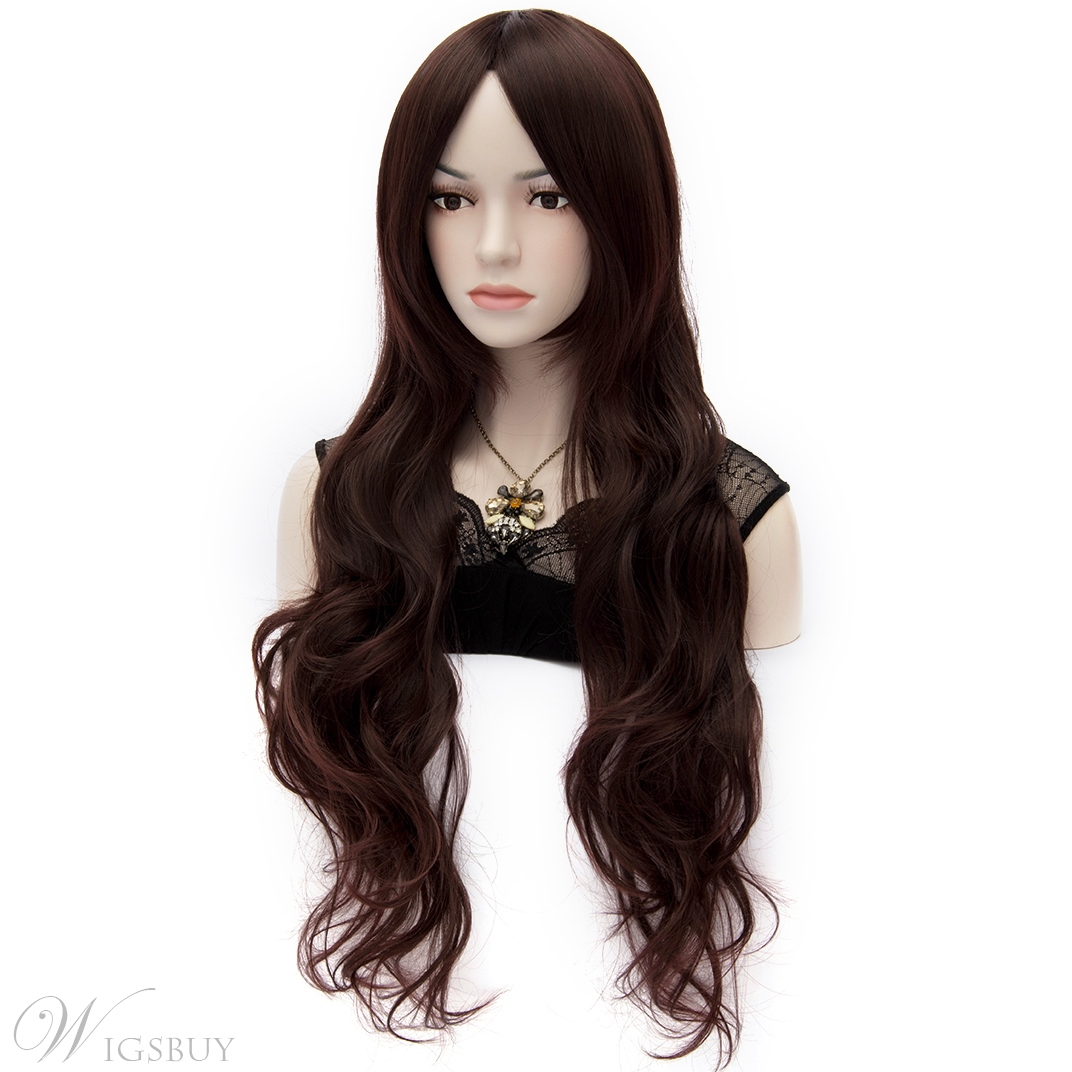 Central Parting Long Wavy Deep Brown U Part Wig 28 Inches