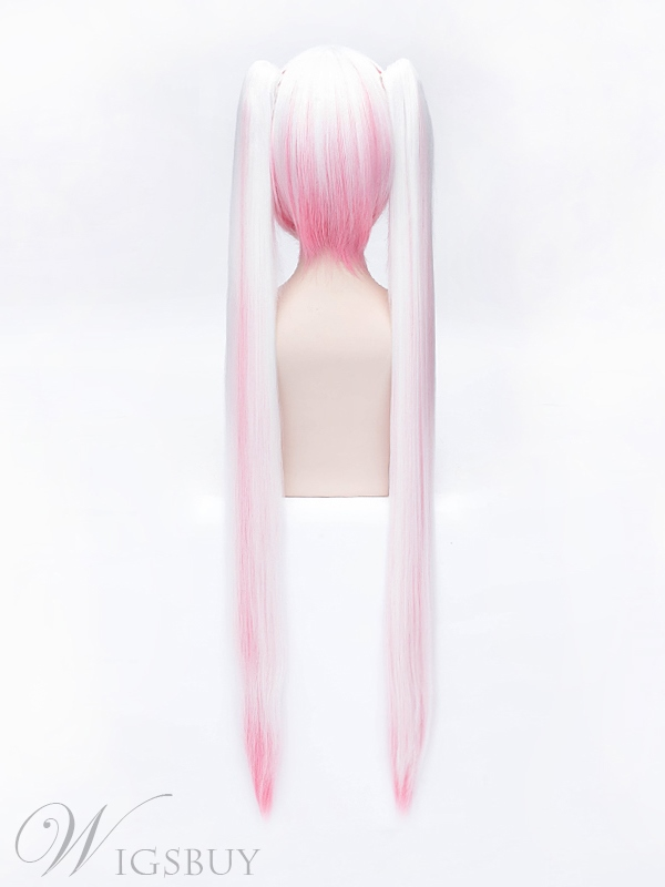 Vocaloid Cosplay White and Pink Long Wig 42 Inches