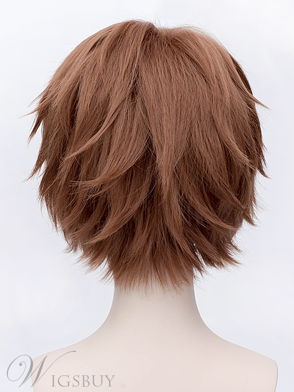 Cosplay Short Straight Brown Wig 12 Inches