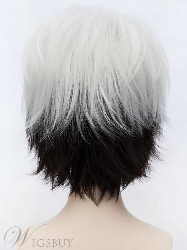 Perfect Cosplay Wig Short Black and White 12 Inches