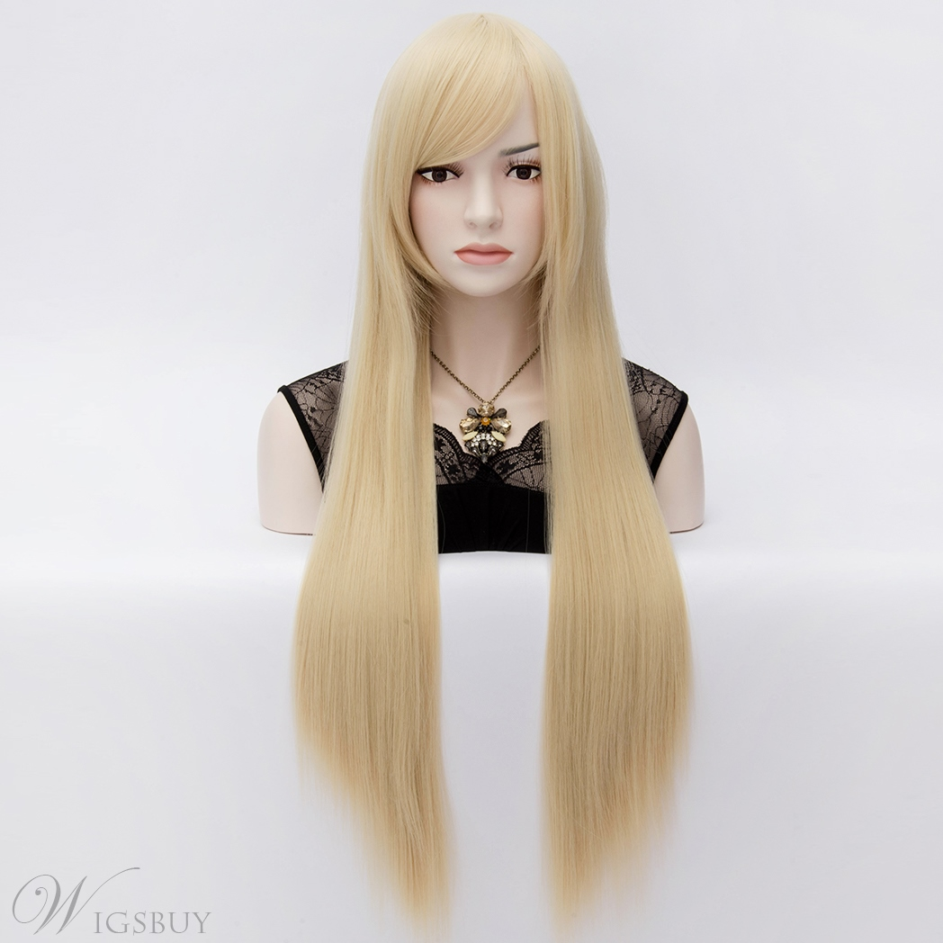 Super Long Straight Blonde Costume Cosplay Hair Full Wig 32 Inches
