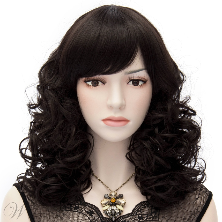 European Style Mid-Length Curly Black Cosplay Party Wig 14 Inches