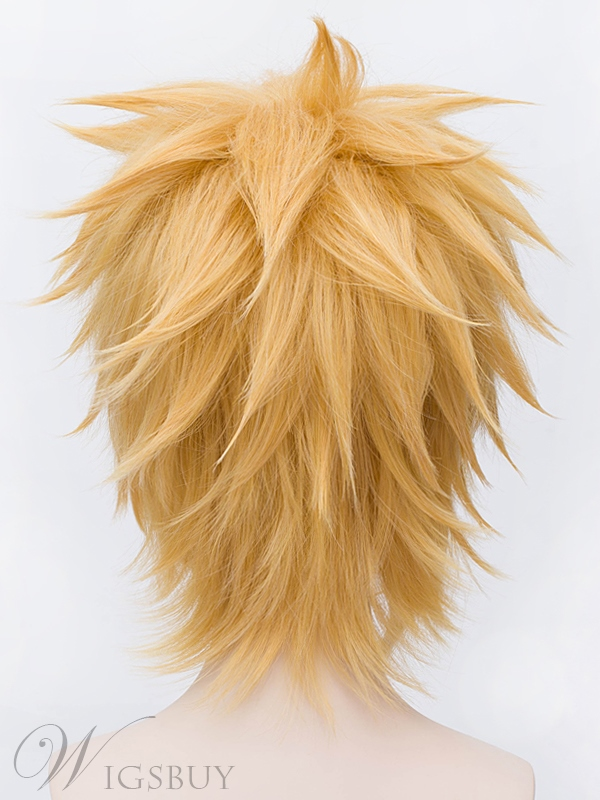 Male Panty Cosplay Short Golden Wig 12 Inches