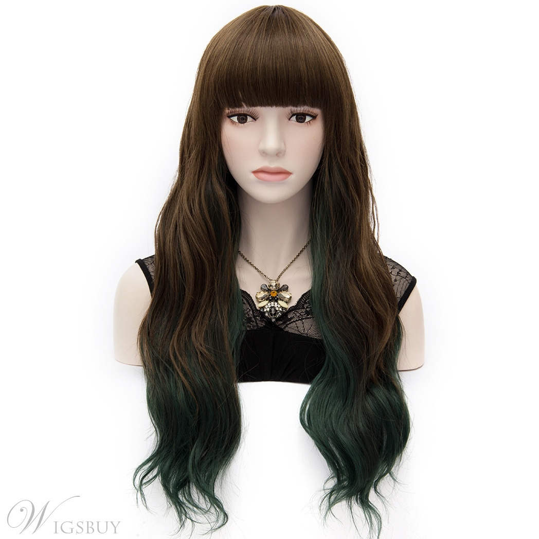 Japanese Harajuku Lolita Long Wavy Wig With Front Bangs 24