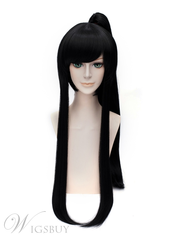 D.Gray-man Kanda You Cosplay Black Straight Wig 40 Inches