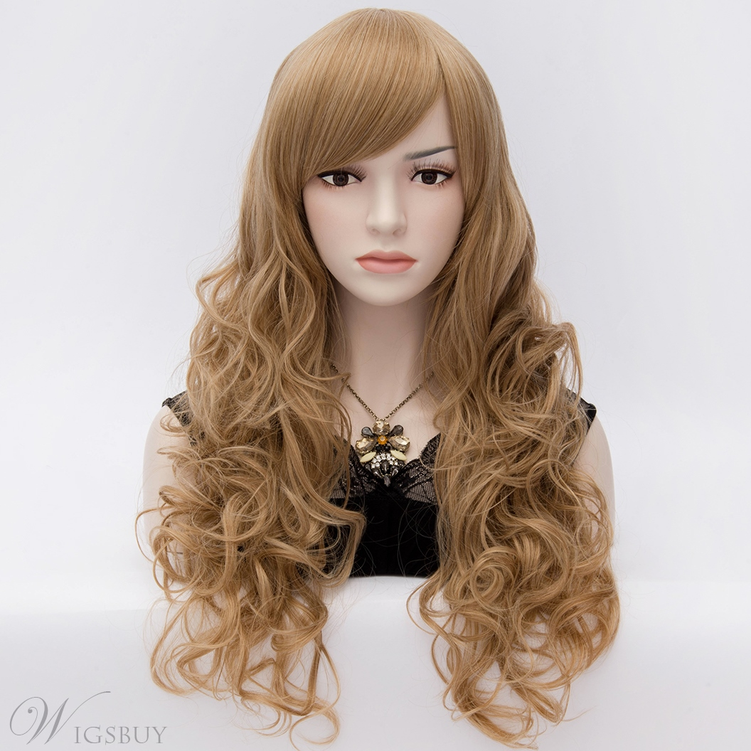High Fashion Long Curly Brown Wig with Side Swept Bangs 28 Inches