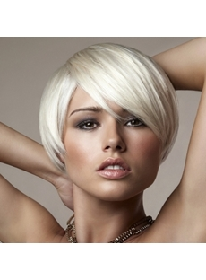 Youthful Short Straight Side Bang Capless Synthetic Wigs