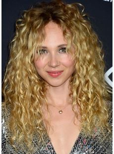 New Arrival Charming Long Curly Human Hair Lace Front Cap Wigs 20 Inches