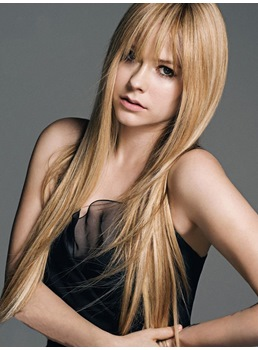 Beautiful Avril Lavigne Style Long Straight Synthetic Hair Capless Wig 24 Inches