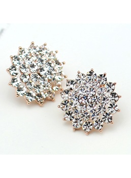 Three-Dimensional Large Snowflakes Rhinestone Stud Earrings