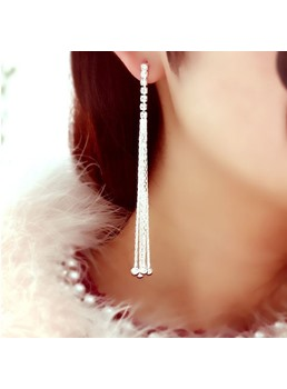 Shining Rhinestone with Tassels Earrings
