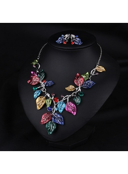 Color Leaves Design Earrings + Necklace (Price For a Pair)