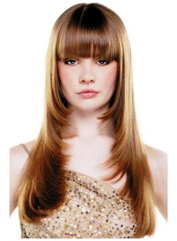 Pretty Long Layered Straight Wigs 100% Human Hair Capless 20 Inches
