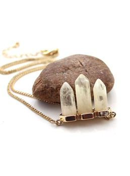 Natural Stone Pendant Alloy Necklace