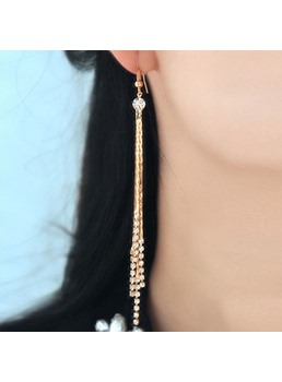 Long Tassels with Rhinestone Earrings