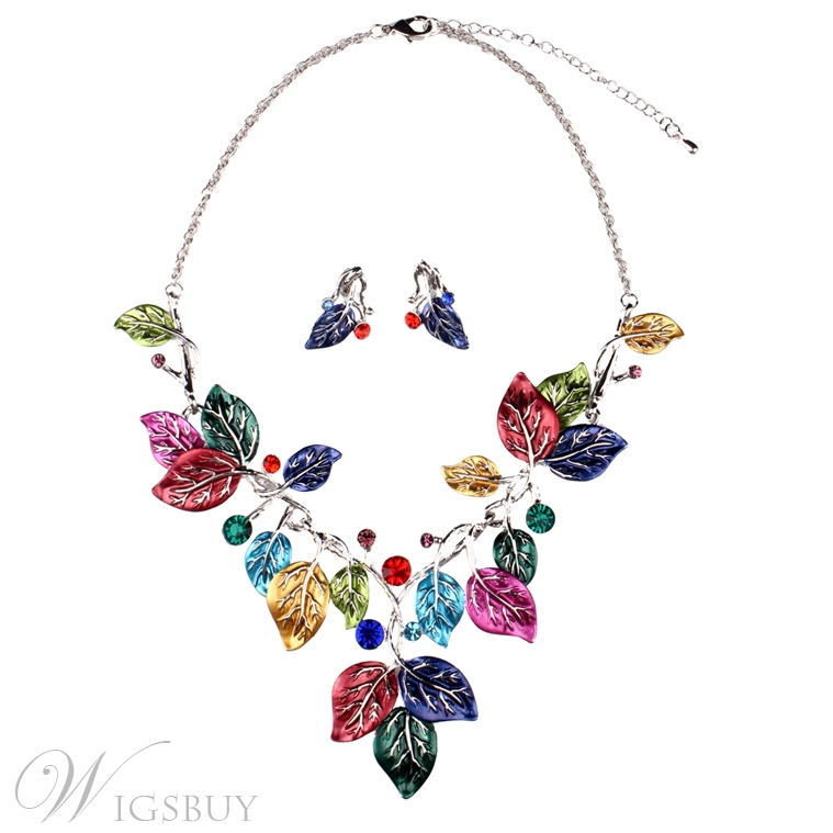color leaves design earrings necklace price for a pair