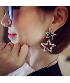 Double Stars Artificial Diamond Earrings