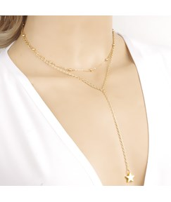 Double-deck with Star Pendant Alloy Necklace