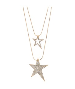 Double-deck with Stars Pendant Long Necklace