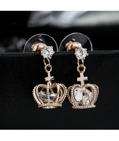 High Quality Crown Shaped with Zircon Earrings