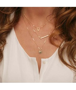 Three-layer with Pendant Alloy Necklace