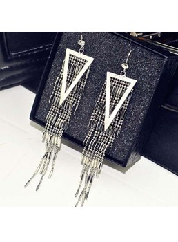 Triangle Shaped with Tassels Drop Earrings
