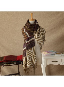 Vintage Pattern Printed with Tassel Warm Scarf