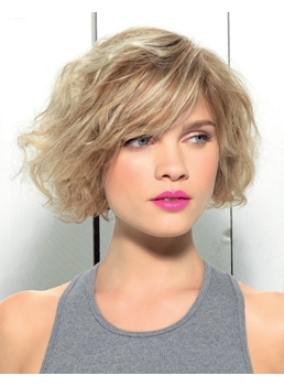 Pretty Bob Style Short Wavy Human Hair Lace Front Wig 8 Inches