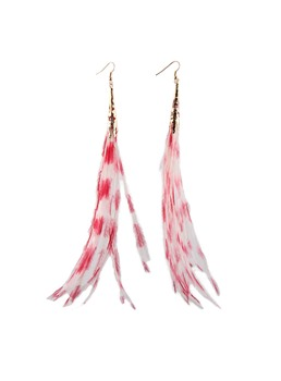 Euramerican Feather Shaped Tassel Earrings