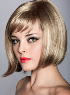 Chic Bob Short Straight Synthetic Hair Capless 10 Inches Wig with Bangs