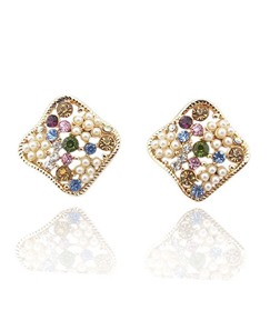 Color Square Rhinestone Stud Earrings