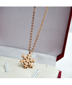 Snowflake Pendant Rose Gold Necklace