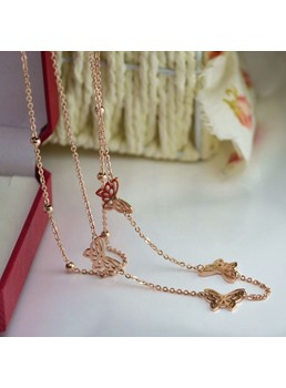 Double Butterfly Rose Gold Necklace