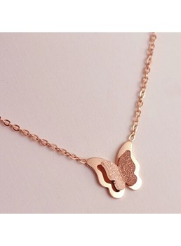 Grind Arenaceous Rose Gold Butterfly Necklace