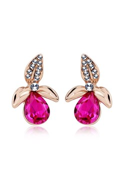 Floral Rhinestone Decorated Stud Earrings