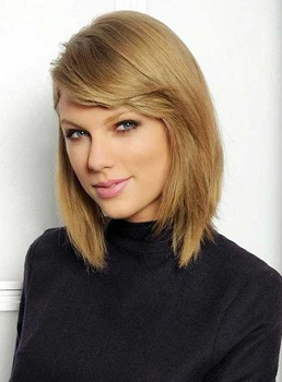 Taylor Swift Style Mid-length Straight LOB Lace Front Synthetic Wig 12 Inches