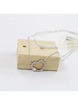 Double Heart Shining Rhinestone Necklace