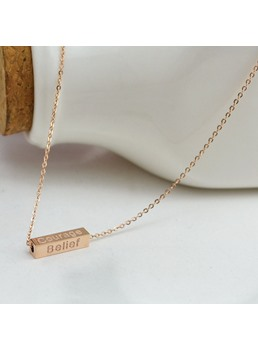Wish Letter Rectangle Pendant Necklace