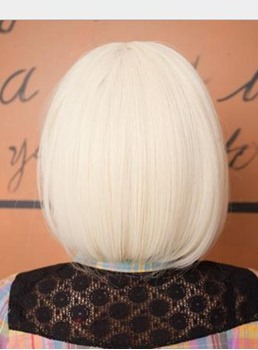 Best Selling Cosplay Short Bob White SyntheticHair Wig 10 Inches