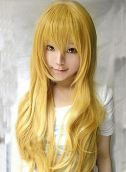 Hot Sale Cosplay Long Wavy Yellow Synthetic Hair Wig 30 Inches