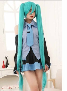 Hot Sale Cosplay Miku Hatsune Long Straight Ponytails Wig