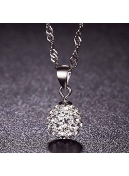 Shining Ball Pendant 925 Sterling Silver Necklace