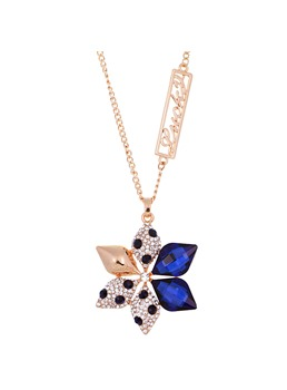 Flower Shaped Rhinestone Decorated Sweater Chain