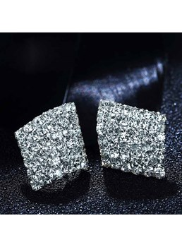 Geometrical Shaped Rhinestone Decorated Earrings