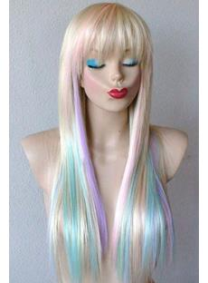 Mixed Color Long Straight Full Bang Synthetic Cosplay Wigs 28 Inches